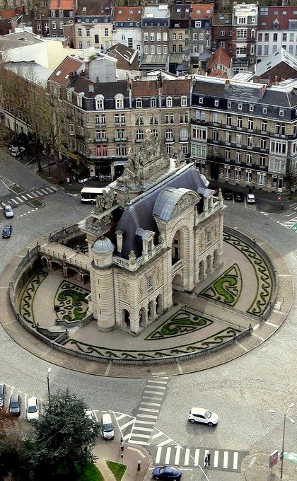 Porte de Paris taken from the Belfry Tower, Lille, France