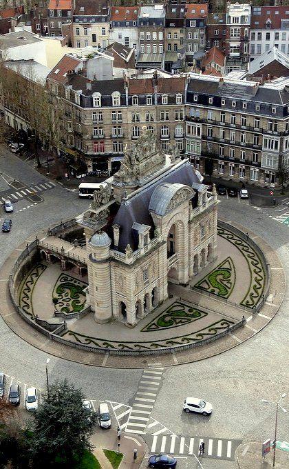 Porte de Paris, tomado desde la torre Belfry, Lille, Francia.