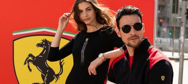 Scuderia Ferrari Collection Mena Wearing Black Sweater And Black Ray Ban Sunglasses Women Wearing Black T Shirt And Watch Men Ferrari Watch Ferrari