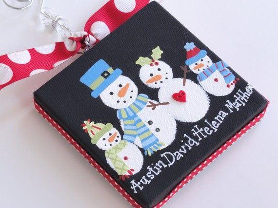Snowman Family canvas ornament