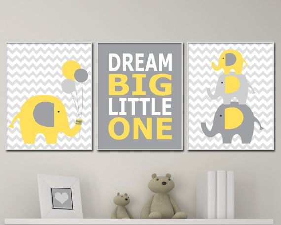 Nursery Art Prints in Yellow And Grey