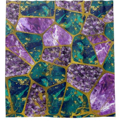 Amethyst and Green Marble Gold Shower Curtain - shower curtains home decor custom idea personalize bathroom