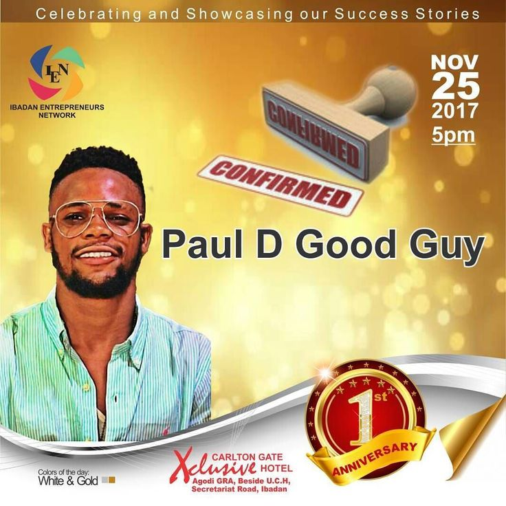 Watch out Ibadan would be having the best comedians in town this weekend. Paul D Good guy is one of them. Don't miss the fun. Get your ticket today.  It's 3 days to go!  Call 08028834848 to get your ticket. Date: November 25 Time: 5pm  Regular ticket. N5000 VIP ticket N50000 #Ibadanpreneurs #IEN@1 #Enterpreneurs #Ibadanevents
