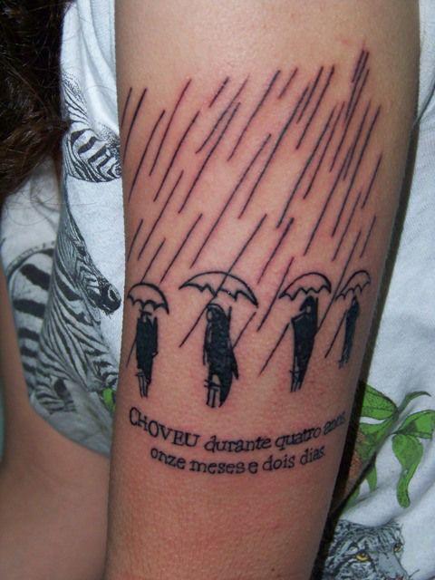 """Tatuagem inspirada pelos """"Cem Anos de Solidão"""" de Gabriel Garcia Márquez."""