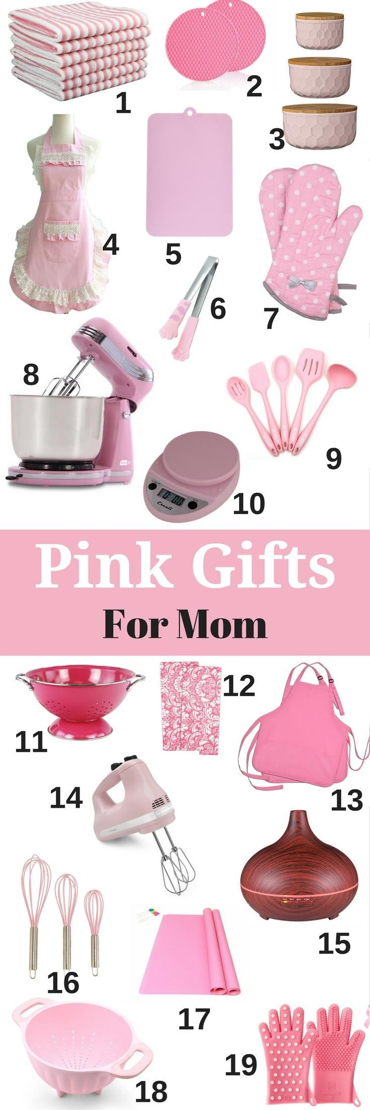 Gifts for mom - beautiful pink presents for Mother's Day, birthday or a holiday gift. Great ideas for DIY gift baskets or a dish towel cake with these too (see the pictures).