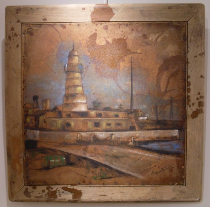 """Abandoned Harbour"", charcoal and acrylics on vintage card table by SD Baptista"