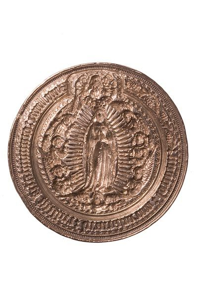 Seal matrix This fine silver seal die shows the Assumption (raising to heaven) of the Virgin Mary. She stands in a cloud of glory surrounded by angels, with God above her head. The Latin inscription 'Sigillum: communitatis misteri: braciatorum: londini:' ('seal of the community of the mystery of brewers of London') runs around the die, with a scroll of barley ears.  Production Date: Late Medieval; mid 15th century