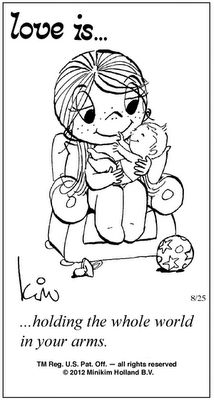 "Reminds me of the feeling I have when I hold Lil Pea. 50 Cute ""Love Is"" Comics by Kim Casali"