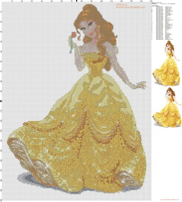 Princess Belle cross stitch pattern (click to view)