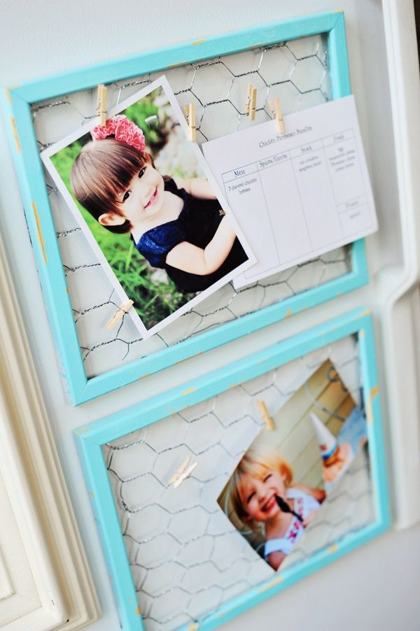 25 Cute DIY Wall Art Ideas for Kids Room - NIce & easy way to put up pics, reminders, etc. Could probably put a magnet on it and stick it to the fridge :)
