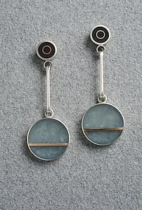 Two+Dot+Earring by Eileen+Sutton: Mixed-Media+Earrings available at www.artfulhome.com