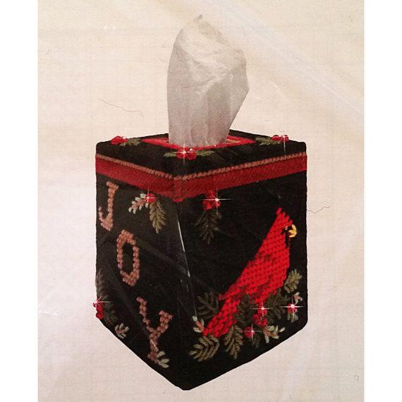 Cardinal Tissue Box Cover Plastic Canvas Kit 4.5 by RomeoetJuliet