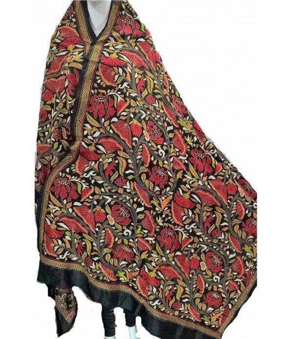 Black Bengali Silk Kantha Dupatta