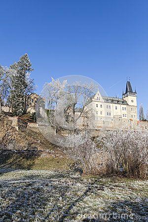 Castle in Zruc nad Sazavou, Czech Republic, Europe during wintertime.