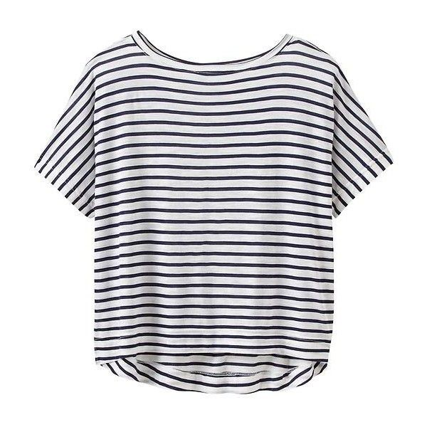 Athleta Women Stripe Crop Tee Size M ($22) ❤ liked on Polyvore featuring tops, t-shirts, shirts, crop tops, striped t shirt, stripe crop top, athleta, stripe shirt and striped tee