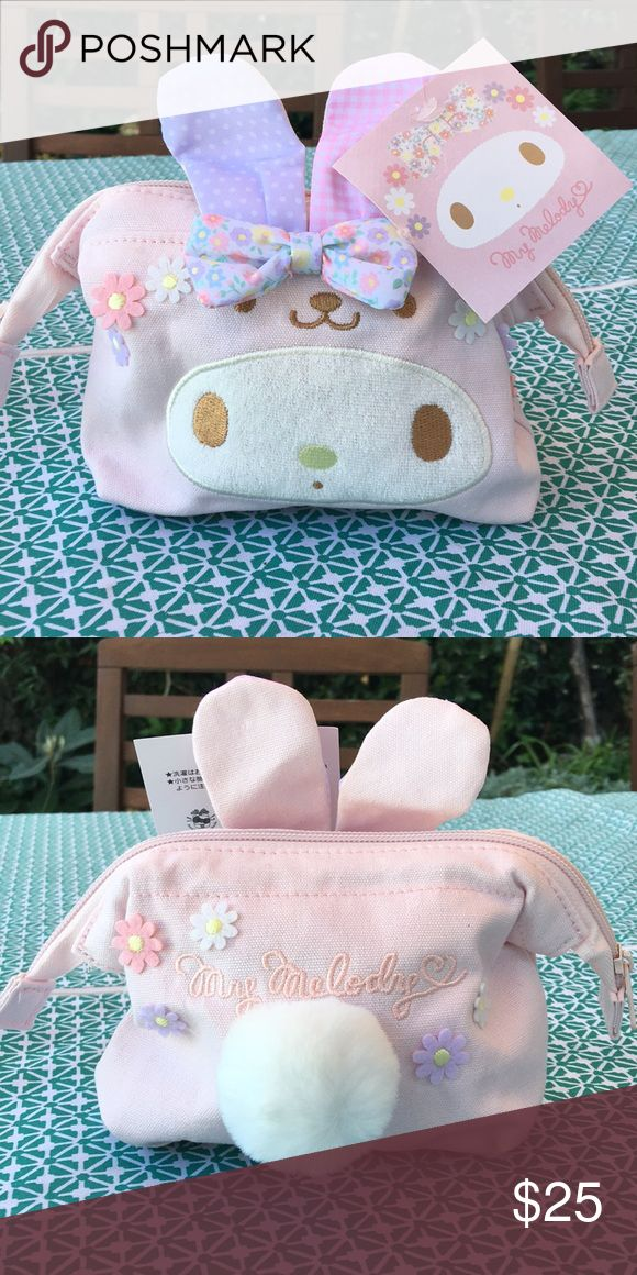 Sanrio My Melody make up cosmetic pouch Japan NWT Canvas