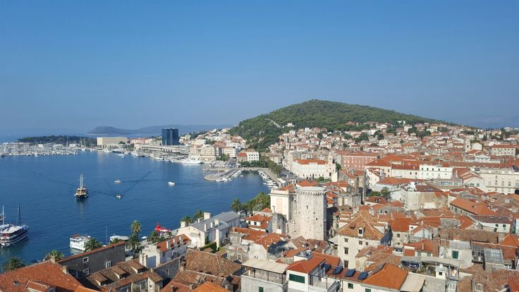 Split, Croatia. Beautiful view of the port from the Bell Tower