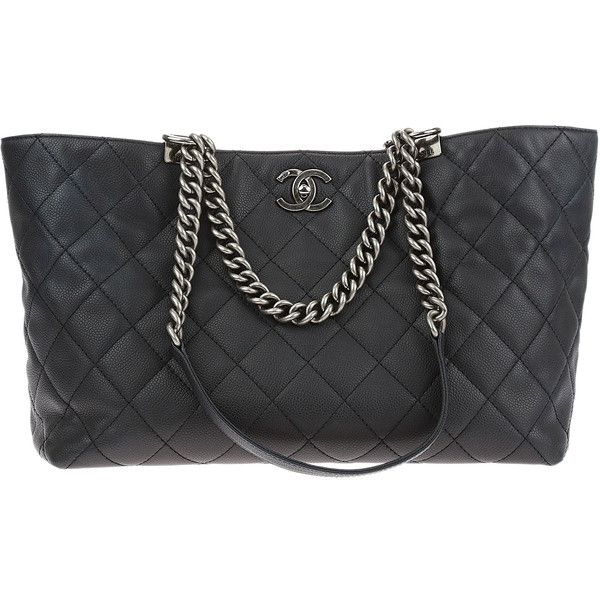 Pre-owned Chanel Black Caviar In Chains Large Shopper Tote (17.290 RON) ❤ liked on Polyvore featuring bags, handbags, tote bags, leather purses, long strap purse, leather tote handbags, leather handbag tote and chanel tote