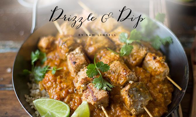 @DrizzleandDip's Indian and Salmon Curry Skewer recipe, shared on the NOMU Blog. (Photos and logo from http://drizzleanddip.com)