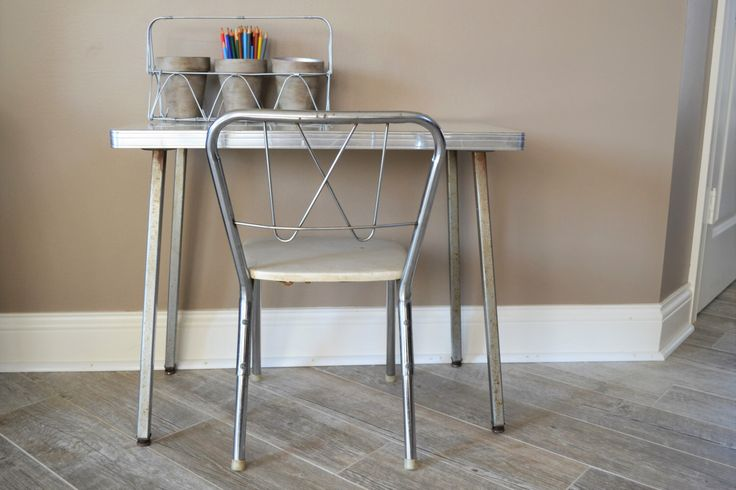 Retro Children's Desk and Chair | Mid Century Kids Chrome Chair Formica Top Child's Desk | Kids Table and Chair | Vintage Table and Chair by ChalksOLot on Etsy https://www.etsy.com/listing/275230460/retro-childrens-desk-and-chair-mid