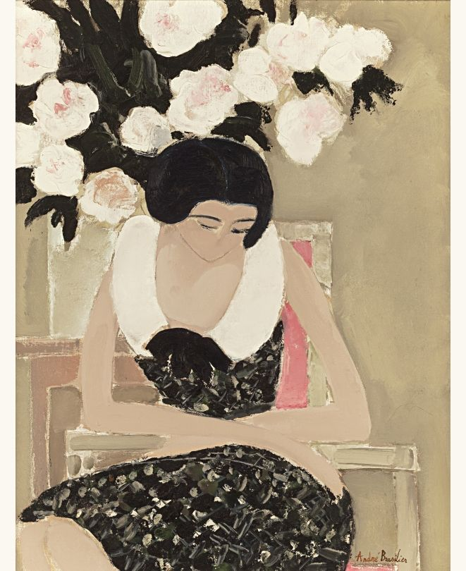 lilithsplace:  Flowers and woman - André Brasilier ( b. 1929)