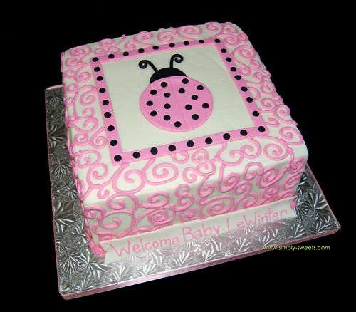 pink and black ladybug themed baby shower cake by Simply Sweets, via Flickr