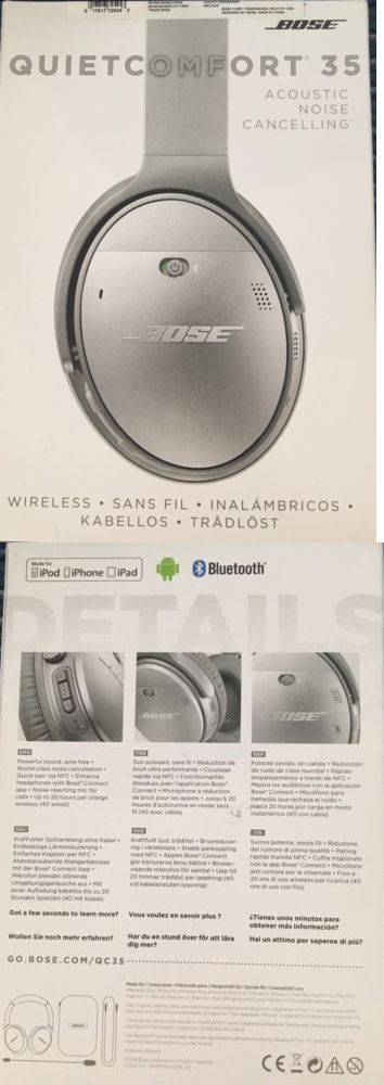 Headsets and Earpieces: Bose Quietcomfort 35 Wireless Noise Cancelling Headphones - Qc 35 - Silver - New BUY IT NOW ONLY: $299.0