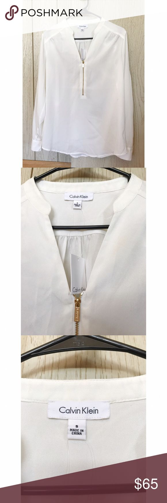 Calvin Klein White Button Down With Gold Details Small Calvin Klein Tops Button Down Shirts