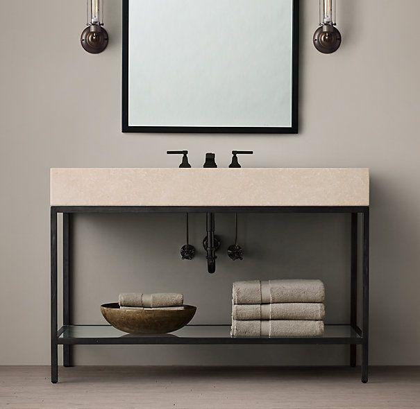 Basement vanity solution. RH inspiration, future ikea hack. Weld steel frame, us…