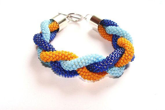 Beaded Crochet Rope Bracelet Blue and Orange by IneseLoft on Etsy, £15.00