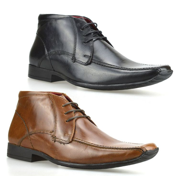 Mens New Leather Lace Up Smart Chelsea Dealer Work Ankle Biker Boots Shoes Size