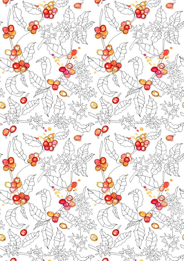 Coffee Plant – OneBee. Pattern design with coffee plant for wallpaper, textile, mugs. Watercolors and marker.