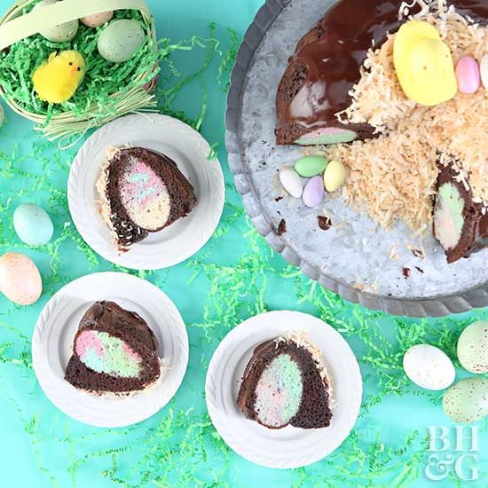 We have the perfect dessert to share on Easter! This scrumptious, chocolate bundt cake is hiding a tie-dye egg in each slice and will surprise your guests. Top the cake off with toasted coconut and eggs to make it look like a nest. #easter #easterdessert #bundtcake