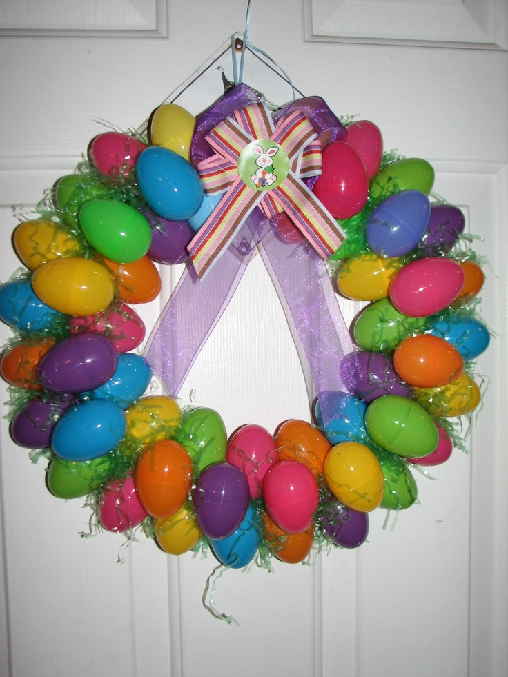Easter wreath made out of Easter eggs.