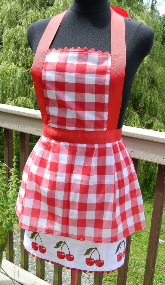 Upcycled Apron  Red Gingham Cherry Pie by DrapesofWrath on Etsy, $40.00