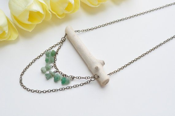 Natural Driftwood Necklace with Green Aventurine Gemstone Chips. Crystal healing jewellery.Lead & nickel free brass chain.Wood Necklace $26.99  www.etsy.com/shops/TeaAndMaple