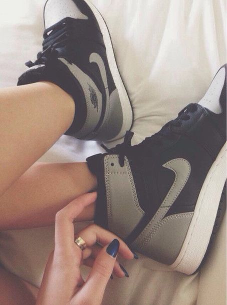 Shoes: nikes, high top sneakers, black, grey sneakers, nike, nike shoes for women, gray nike, black grey, high top nikes, nike air jordan alpha 1, grey shoes, skateboard shoes - Wheretoget
