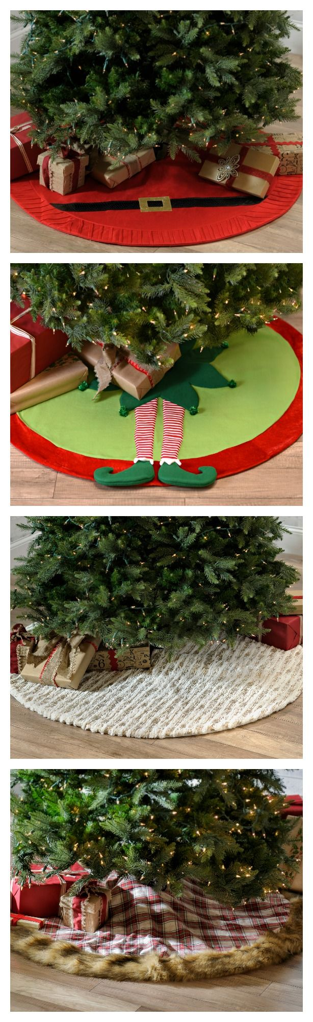 Finish your holiday decorating with a festive and bright holiday skirt for your Christmas tree.