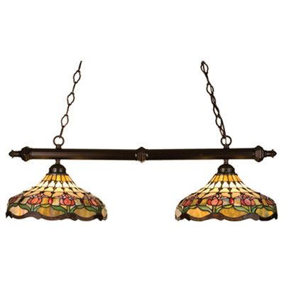 Meyda Tiffany Victorian Tiffany Colonial Tulip 2 Light Pool Table Light