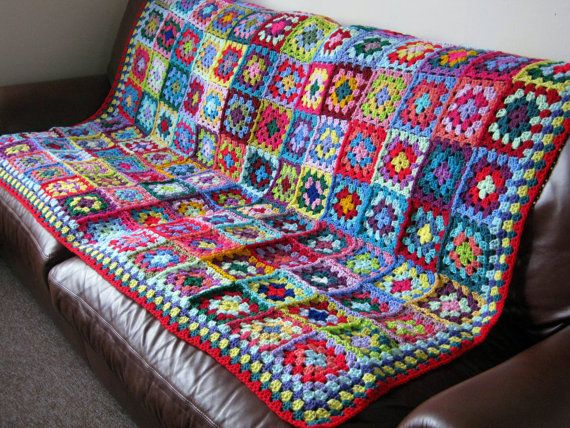 Maria Large Crochet Vibrant Granny Square Blanket by Thesunroomuk, £200.00