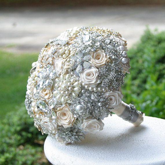 Champagne Wedding Brooch Bouquet. Visit my Etsy shop!