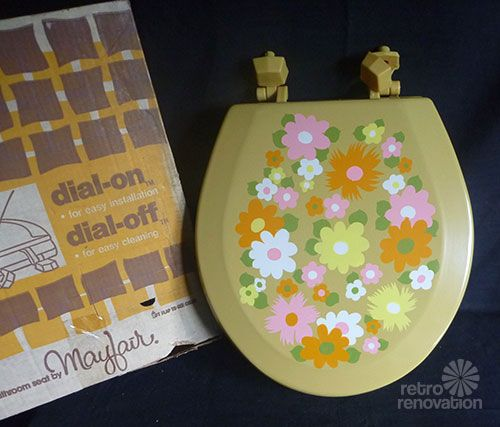 Vintage flower power NOS toilet seats