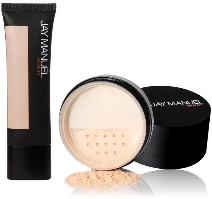 Jay Manuel Beauty Skin Perfector Liquid Makeup and Luxe Filter Loose Powder - Medium 1