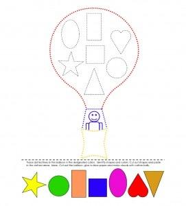 preschool worksheet featuring a hot air balloon and shape matching