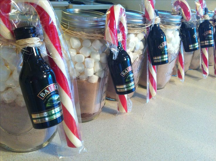 Found this idea from Pinterest and made gifts of hot cocoa, marshmallows, baileys, and candy canes... super easy! My lesson learned while making these though is that you will use more cocoa mix than you think -- those mason jars are deceivingly big!