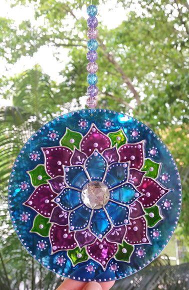 Mandala Lótus Azul (arte vitral em CD)