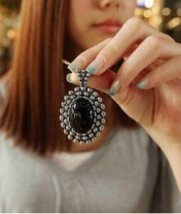 x104  2016 fashion (ancient cyan) European and American vintage jewelry special push carved crystal necklace sweater chain