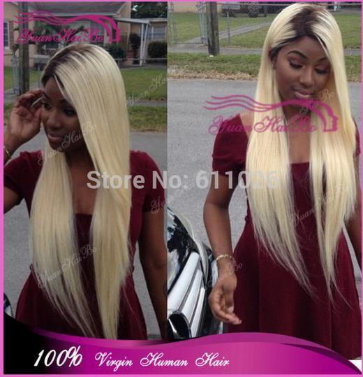 Лучше 6а дополнительные длинная 28 inch два тона # 1b / # 613 натуральная бразильский шелковистой деграде кружево перед парик для черный женщины