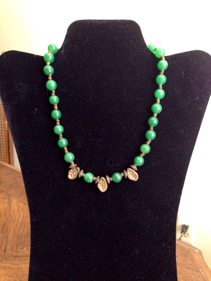 Green Jade Stone Beaded Necklace by kate0748 on Etsy https://www.etsy.com/listing/174086839/green-jade-stone-beaded-necklace