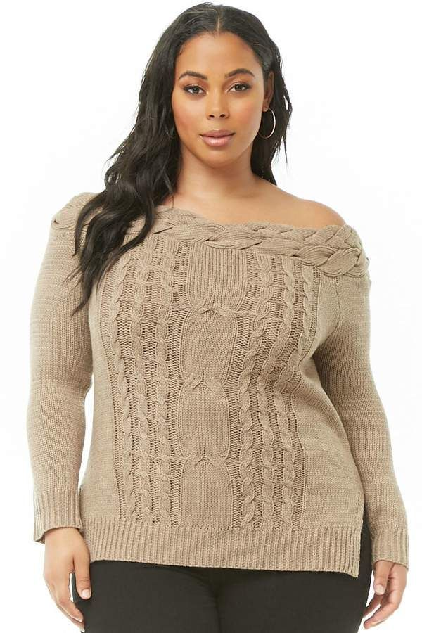 c34abe286a4 Forever 21 Plus Size Off-The-Shoulder Cable Knit Sweater  ad ...
